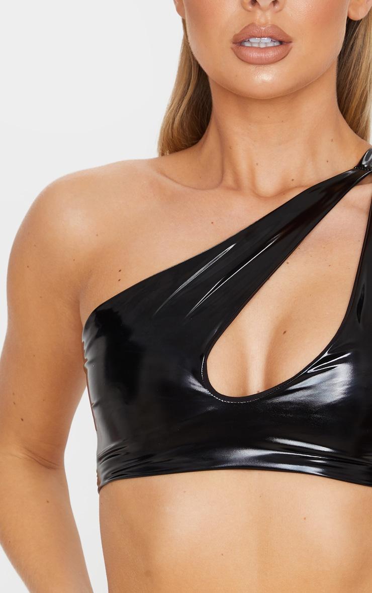 Black Vinyl Keyhole One Shoulder Bikini Top 5