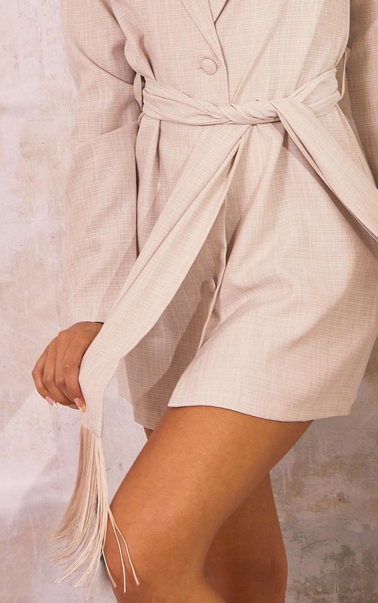 Stone Linen Tassel Detail Tie Waist Blazer Dress 4