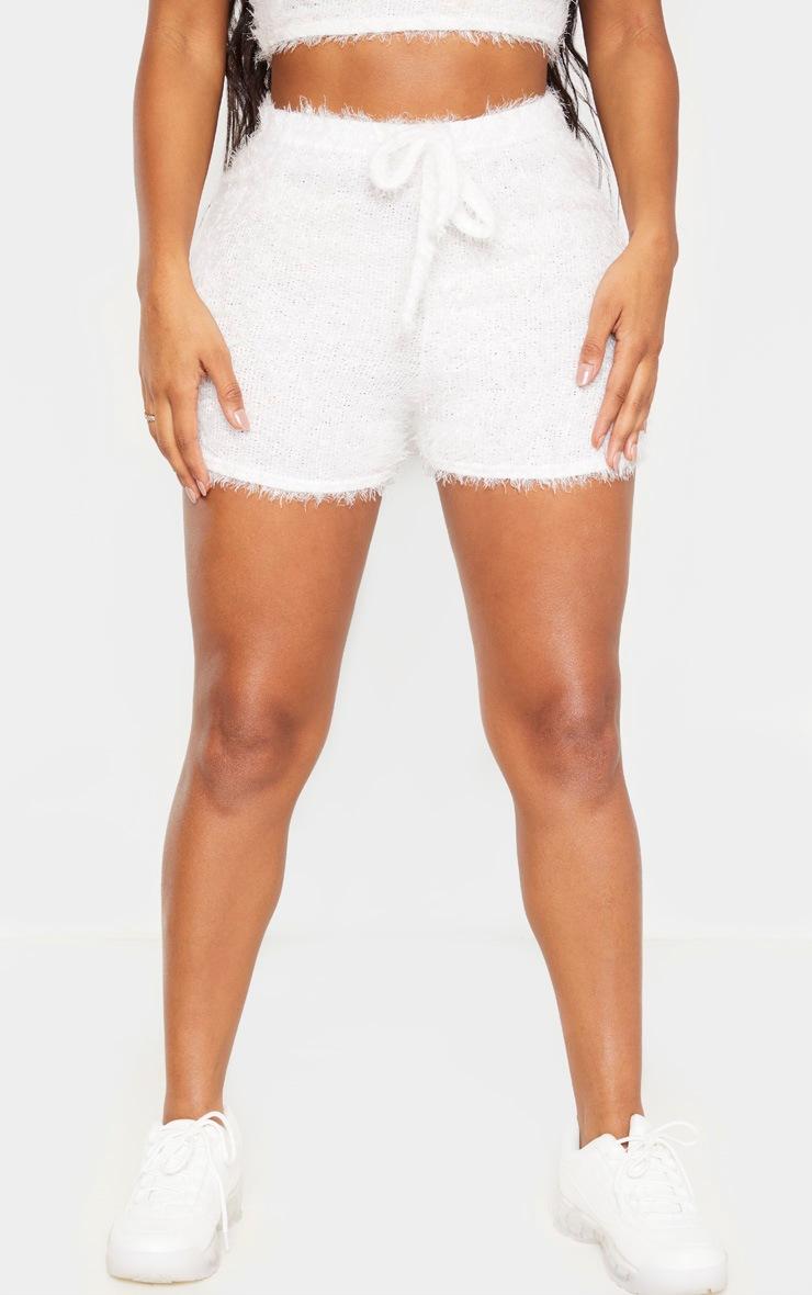 Shape Cream Eyelash Knit Tie Waist Shorts 2