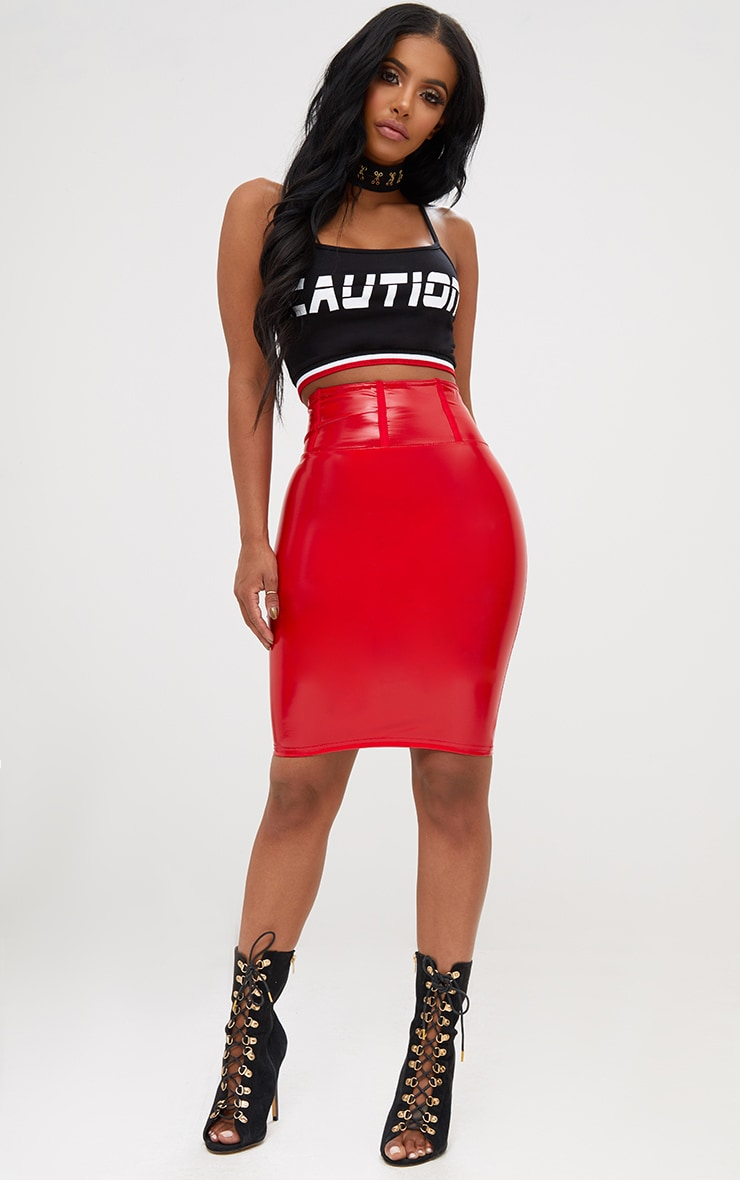 Shape Red High Waist Vinyl Mini Skirt 6