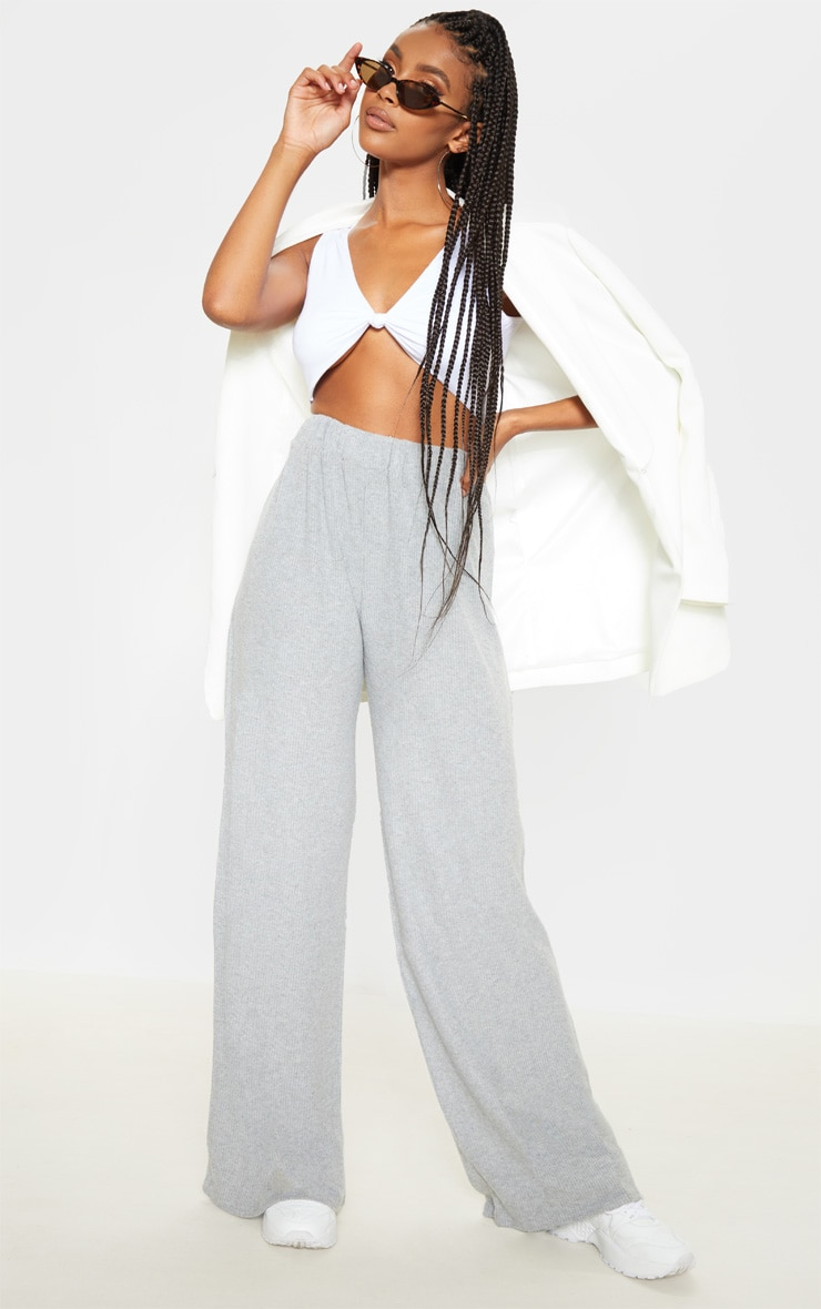 Grey Brushed Rib Wide Leg Pants 1