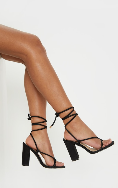 378fde0fcc8c Black Ghillie Lace Up Block Heel Sandal