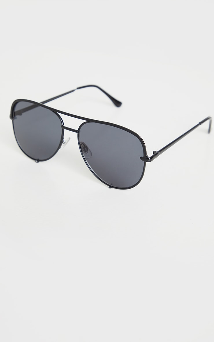 Black On Black Oversized Aviator Sunglasses 2