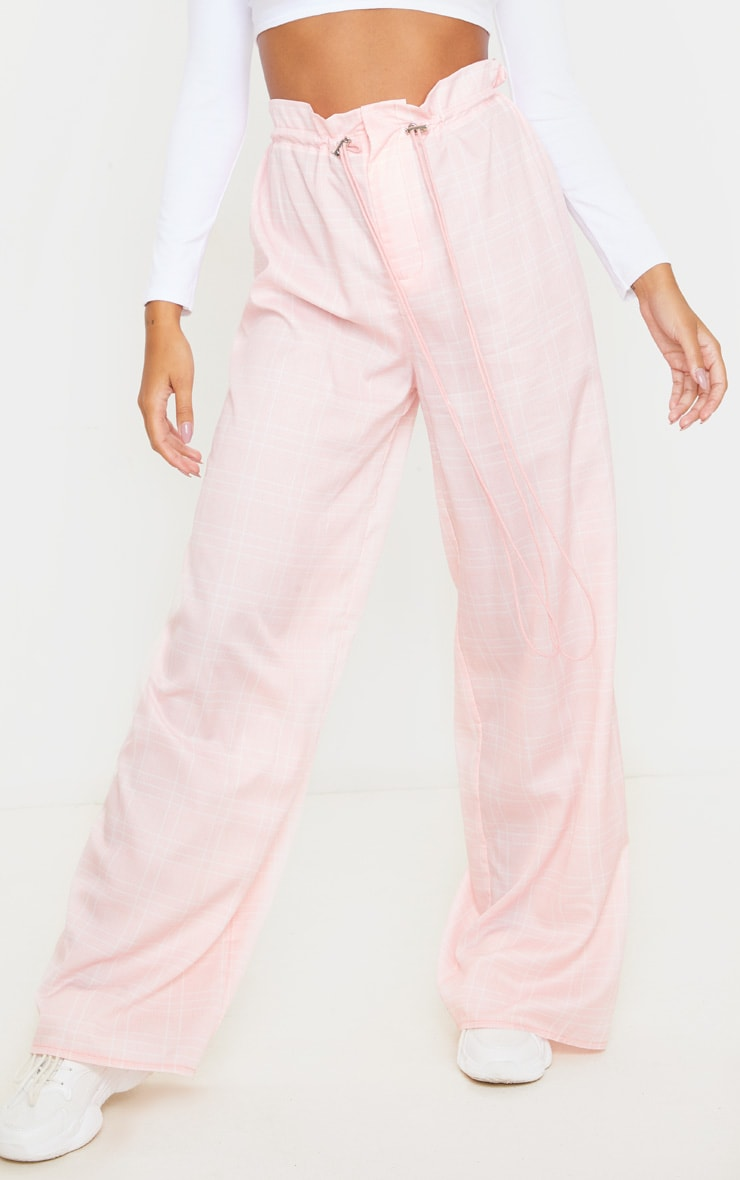 Dusty Pink Drawstring Waist Wide Leg Pants 2