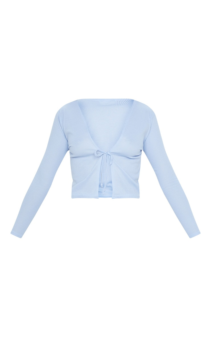 Baby Blue Rib Tie Front Long Sleeve Crop Top 3