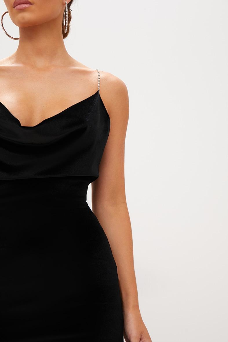 Black Velvet Cowl Neck Diamante Strap Bodycon Dress 5
