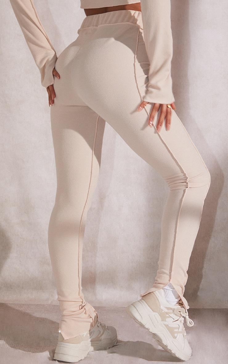 Recycled Beige Rib Raw Seam Split Hem Leggings 3