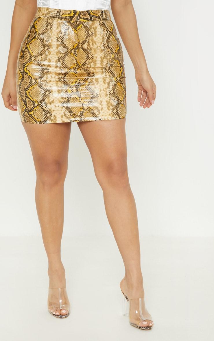 Brown Snakeskin Faux Leather Mini Skirt  2