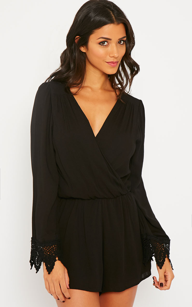 Marketta Black Wrap Front Embroidered Cuff Playsuit 1