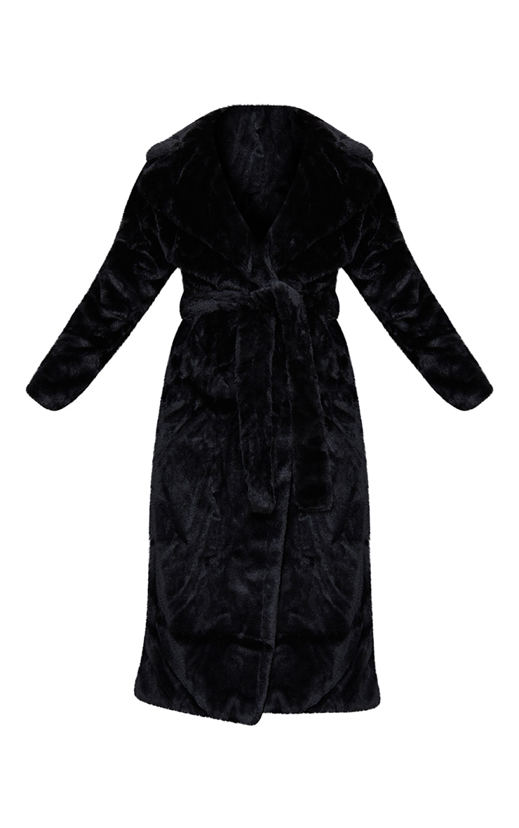 Black Belted Faux Fur Coat 5