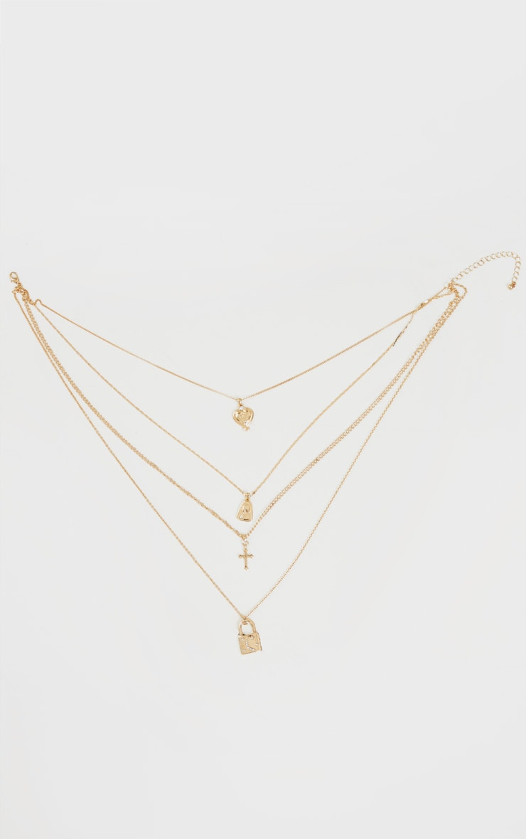 Gold Heart Cross And Padlock Assorted Necklace 4