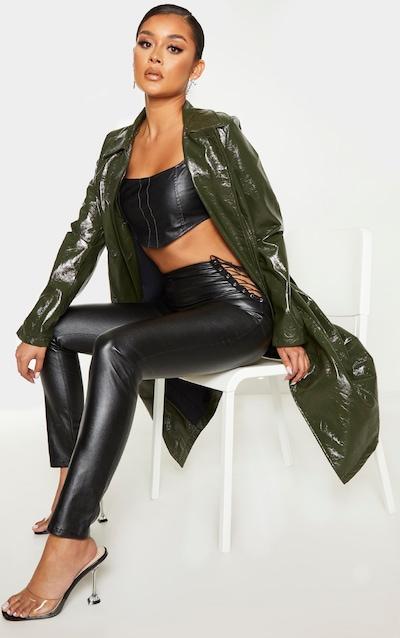 Black PU Lace Side Skinny Trousers
