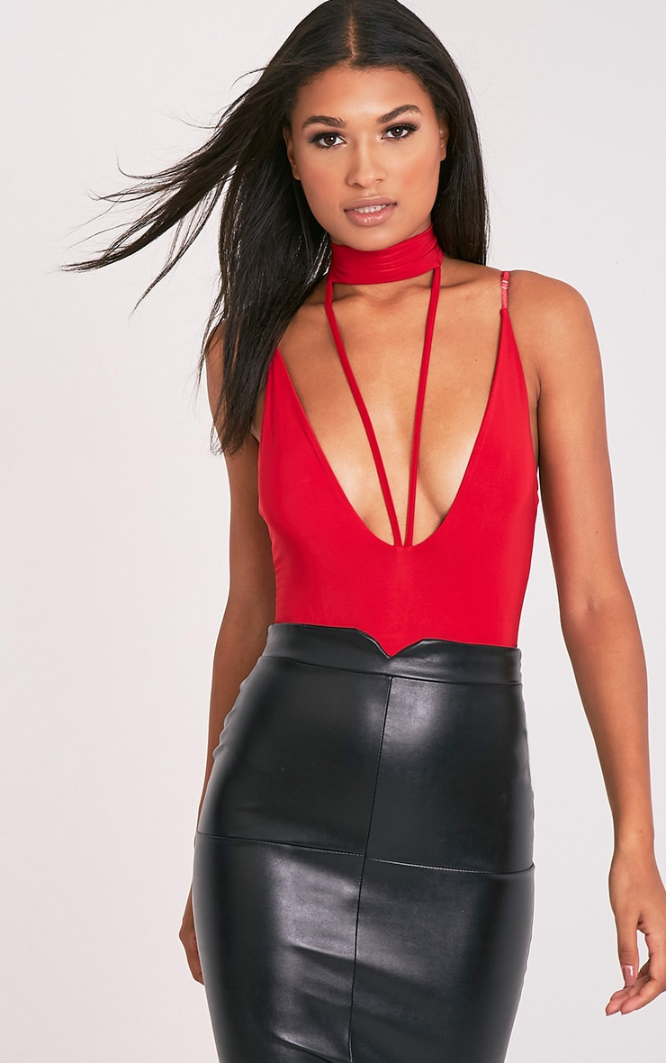 Laula Red Slinky Strap Front Thong Bodysuit 1