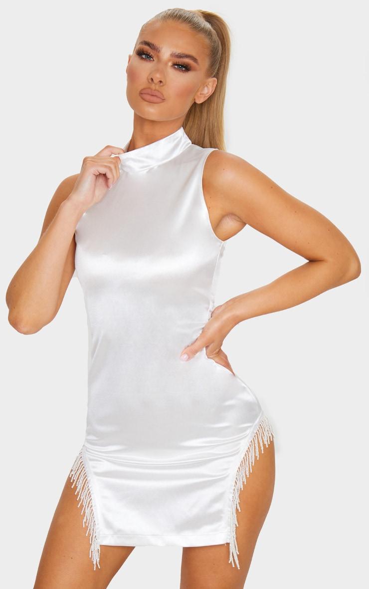 White Satin High Neck Sleeveless Beaded Trim Bodycon Dress 1
