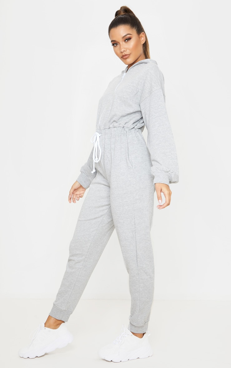 Grey Long Sleeve Hooded Sweat Jumpsuit 4