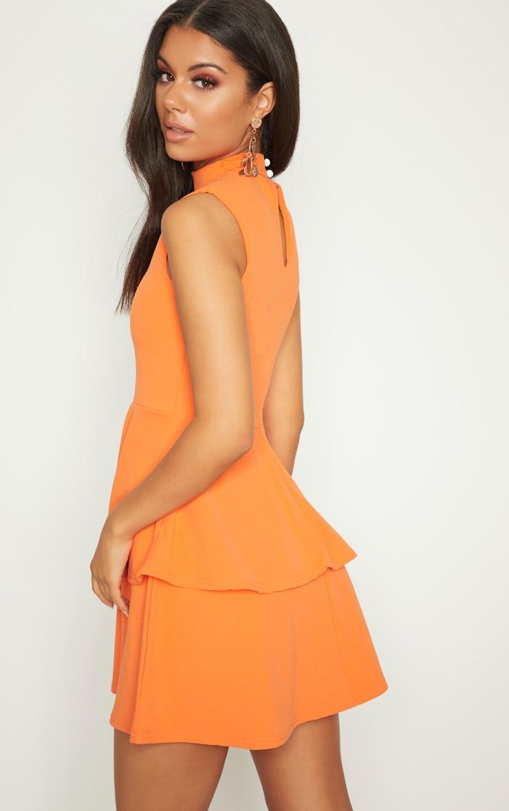 Bright Orange Sleeveless Shoulder Pad Detail Tiered Skater Dress 2