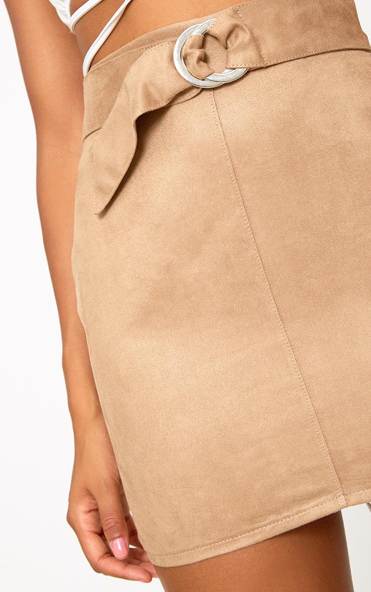 Stone Faux Suede Belted Mini Skirt 6