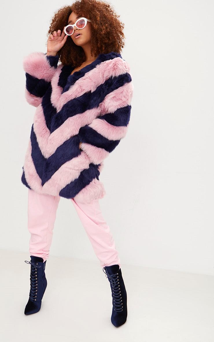 Pink Stripe Faux Fur Coat 1