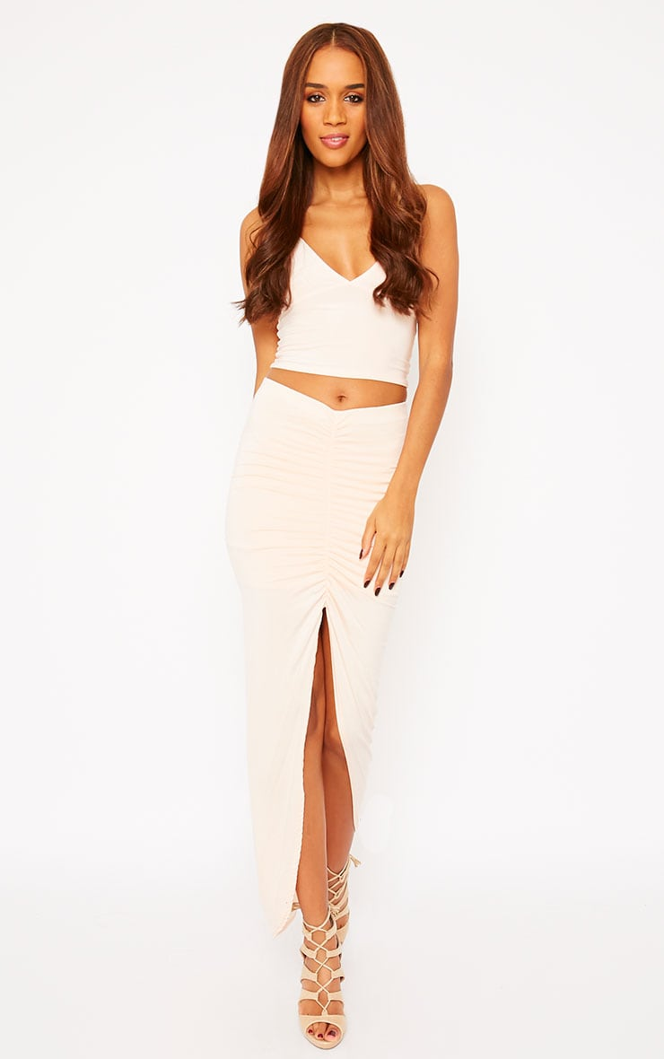 Omari Nude Ruched Front Jersey Maxi Skirt 1