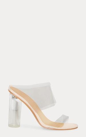 Clear Block Heel Twin Strap Sandal