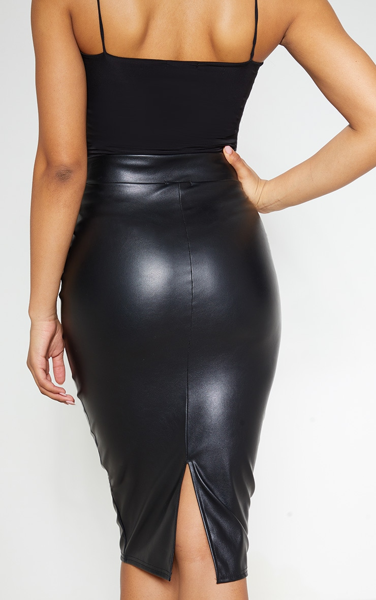 Tall Black Faux Leather Panel Midi Skirt 5