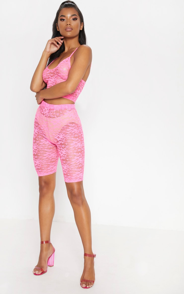 Neon Pink Lace Cycling Shorts 5