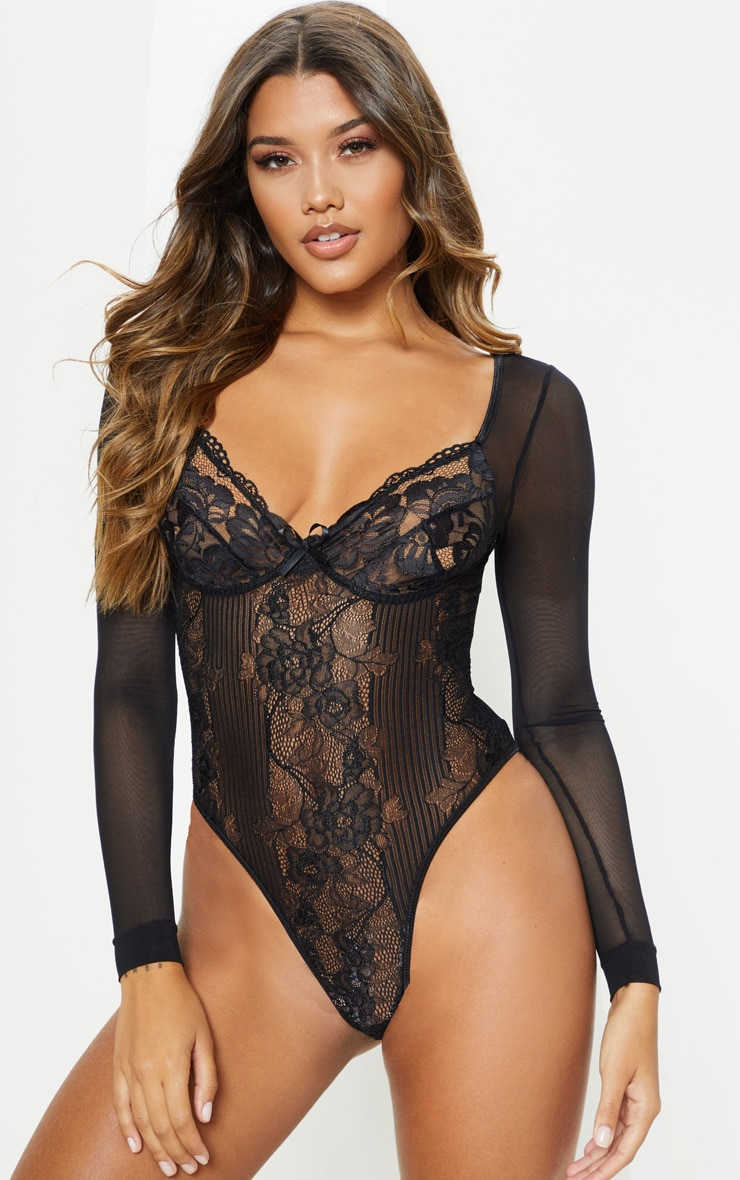 Black Longsleeve Lace Insert High Leg Cupped Body 1