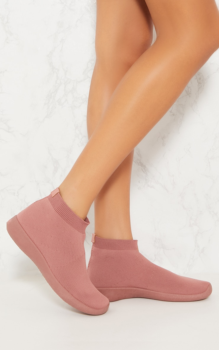 Dusty Pink Knit Sock Trainers 1