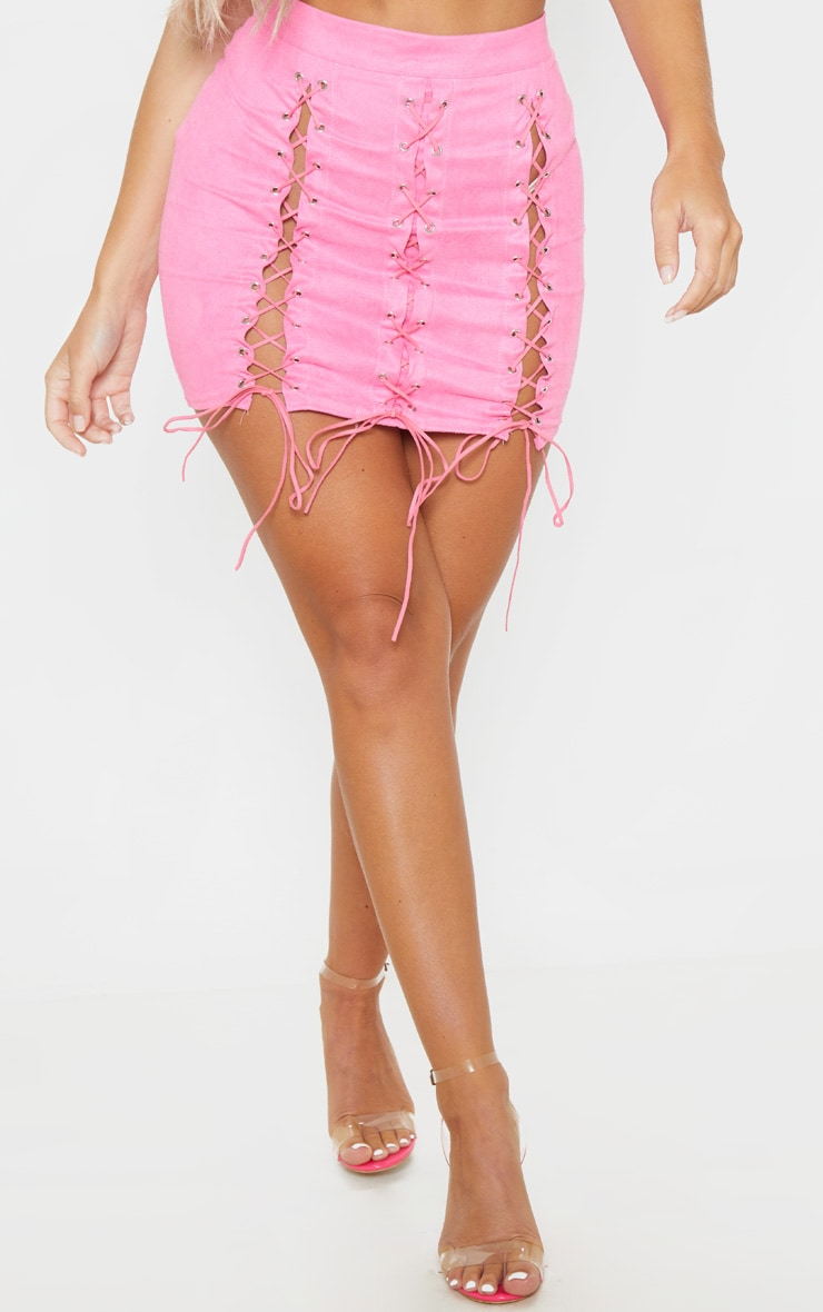 Hot Pink Faux Suede Lace Up Detail Mini Skirt 2