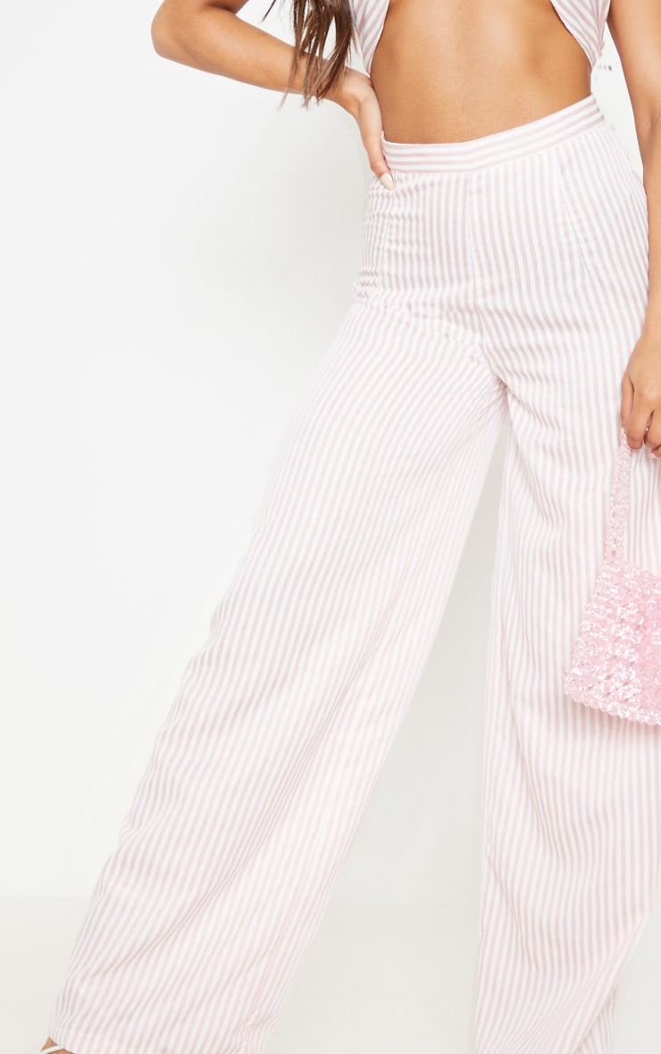 Baby Pink Woven Stripe Wide Legged Trouser  5