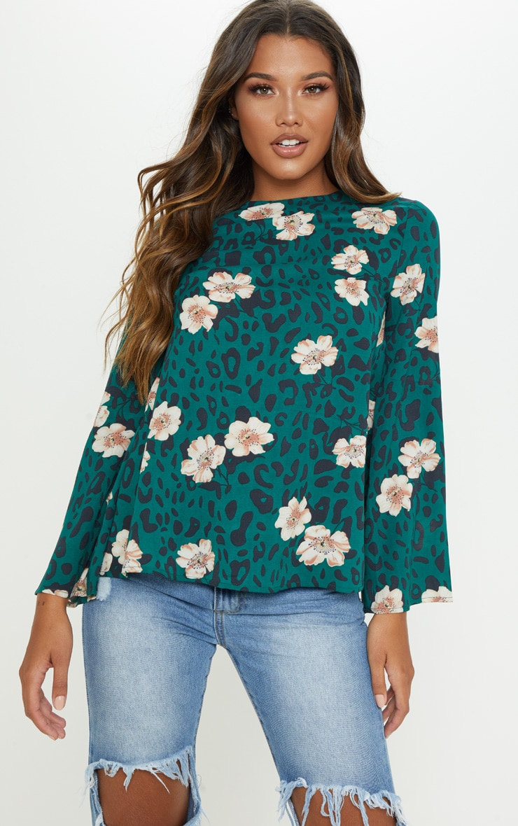 Green Mixed Print Backless Blouse 2