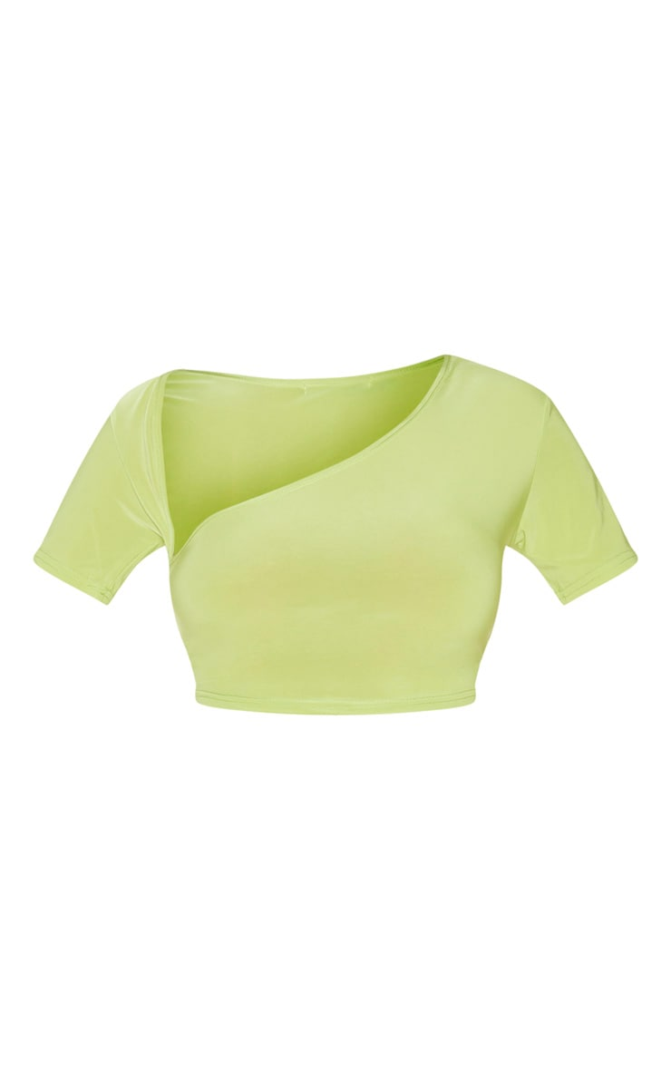 Green Slinky Asymmetric Short Sleeve Crop Top 5