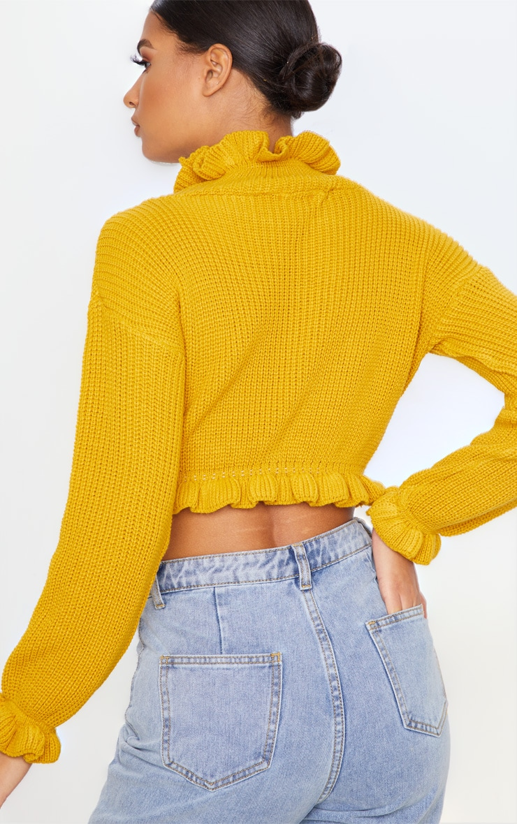 Mustard Knit High Neck Ruffle Trim Crop Jumper 2