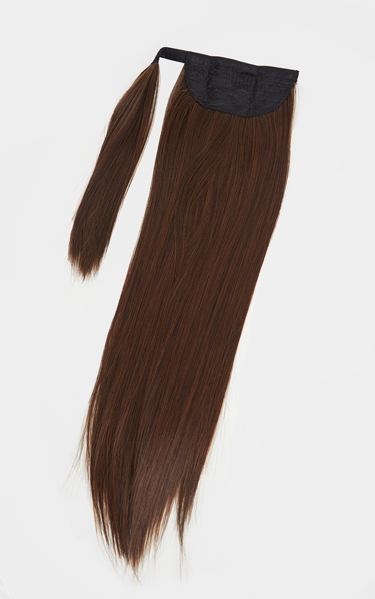 LullaBellz Grande Lengths 26 Straight Pony Extensions Warm Brunette 5
