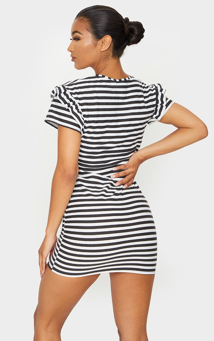 Monochrome Stripe Frill T Shirt Dress 2