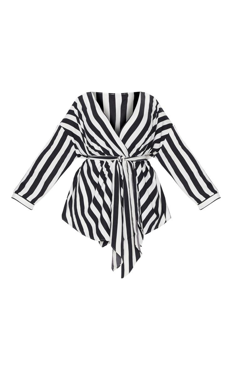 Plus Black Bold Stripe Tie Waist Blouse 3