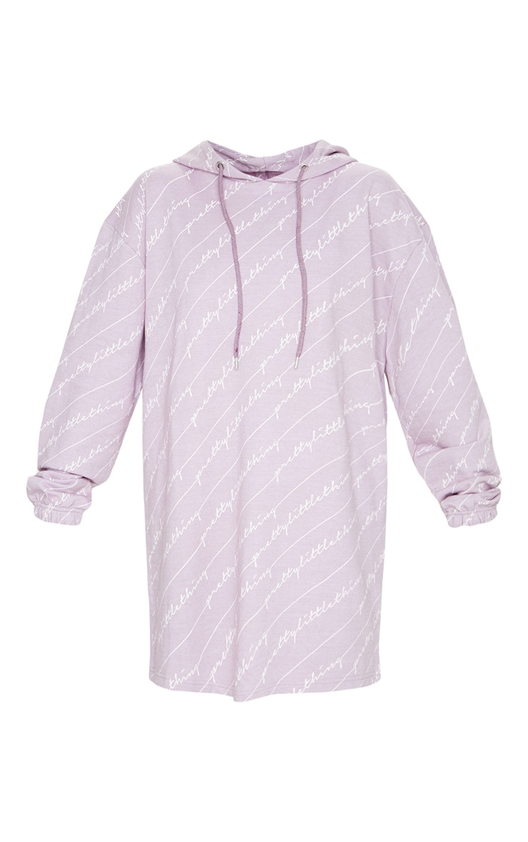 PRETTYLITTLETHING Lilac Slogan Hoodie Dress 5