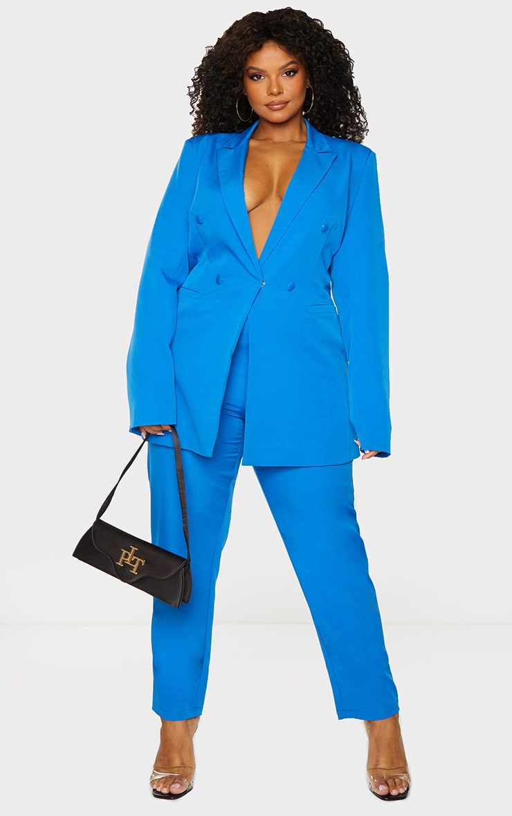 Plus Blue Double Breasted Woven Blazer 3