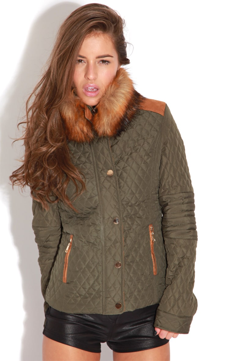 Clara Khaki Jacket With Brown Fur Trim 1