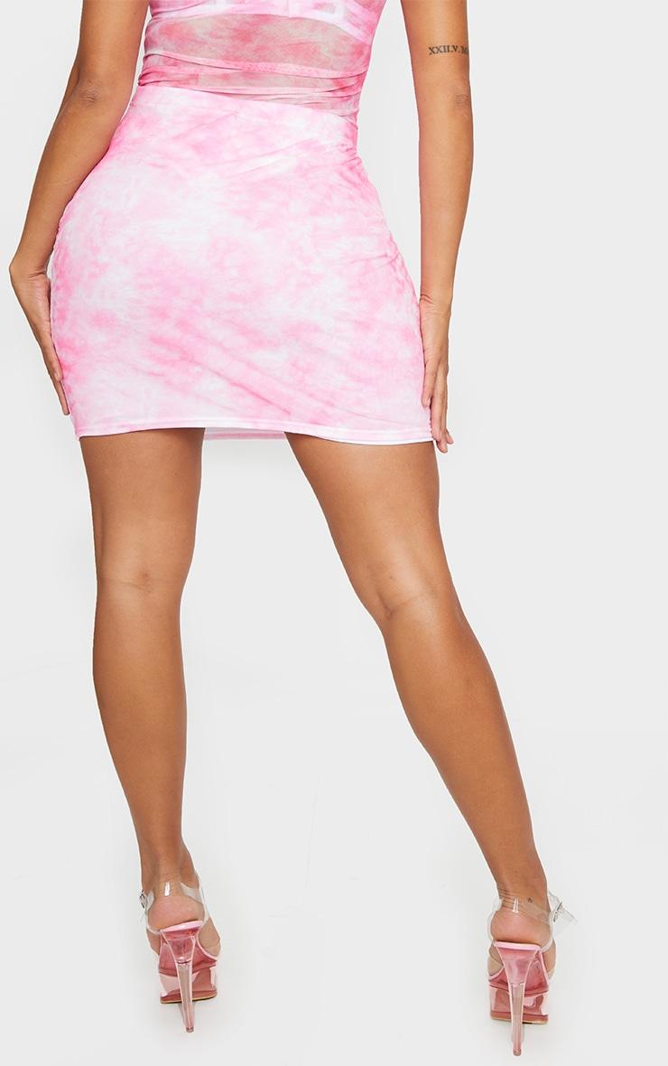 Shape Pink Tie Dye Mesh Bodycon Skirt 3