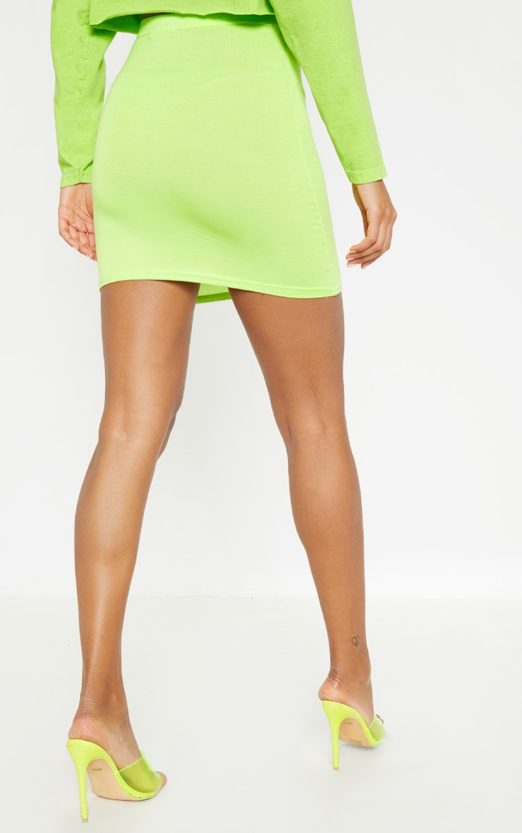 Neon Lime Stone & Black Basic Jersey Mini Skirt 3 Pack 4