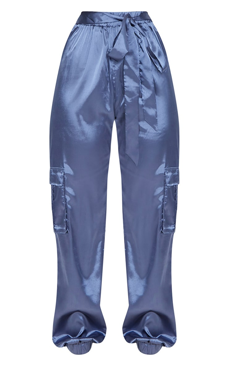 Powder Blue Satin Cargo Trousers 3