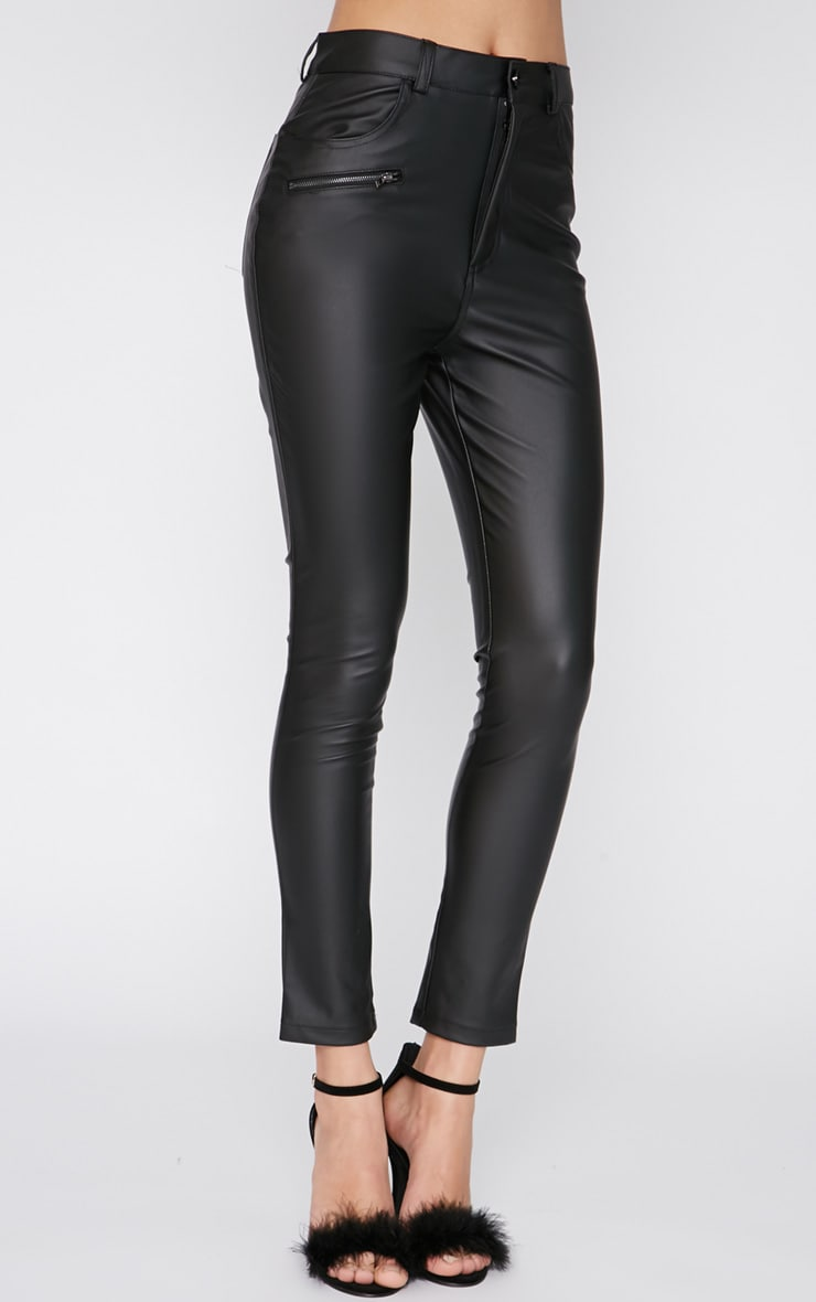 Nevah Black Leather Trouser  4
