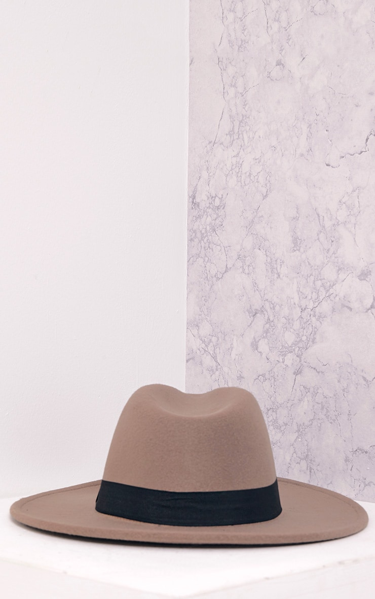 Kynia Camel Wide Fedora Hat 4