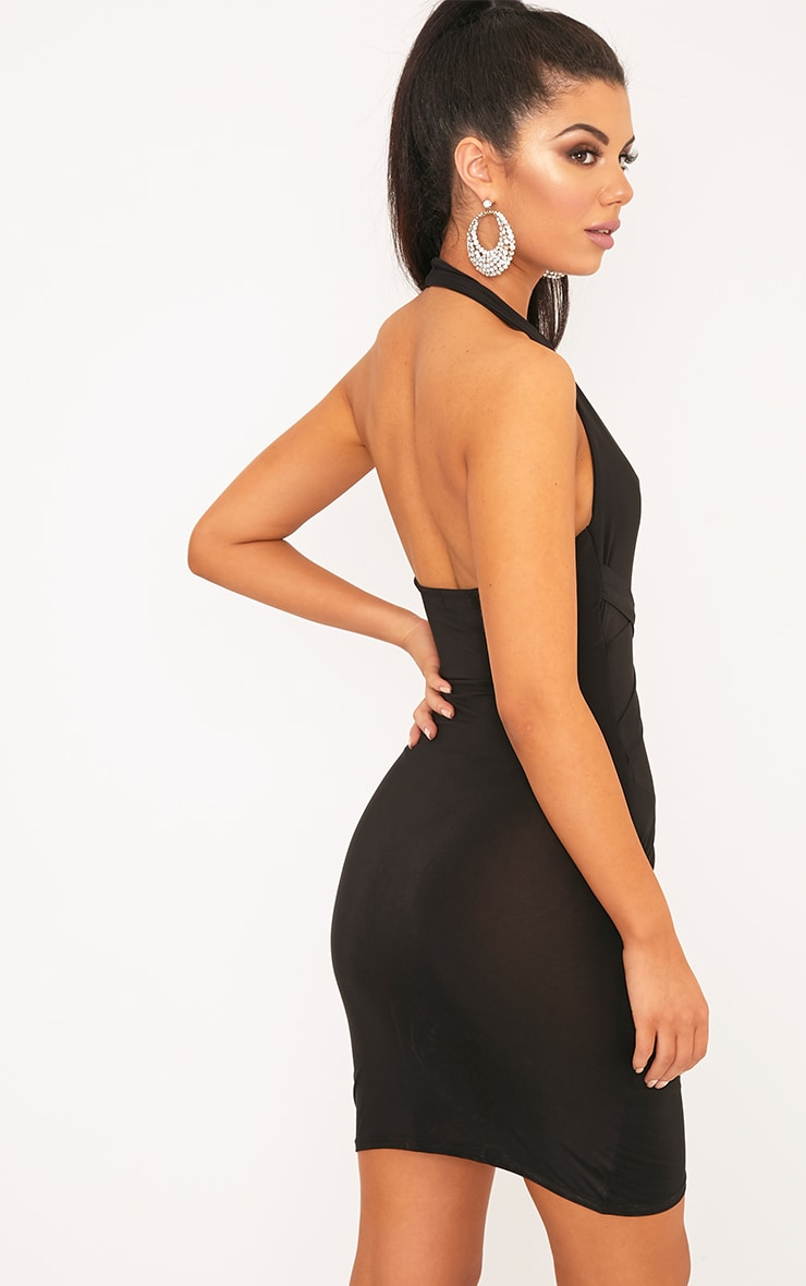 Loana Black Wrap Detail Bodyon Dress 2