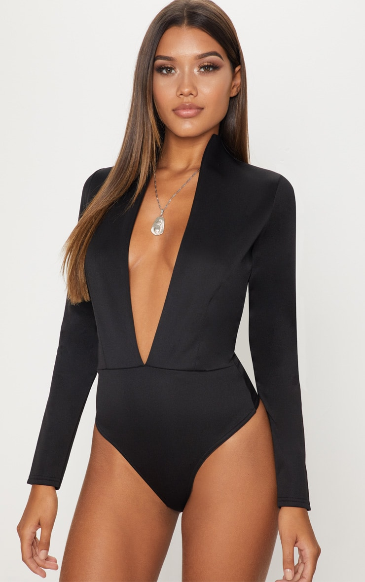 Black Scuba High Neck Plunge Thong Bodysuit 2