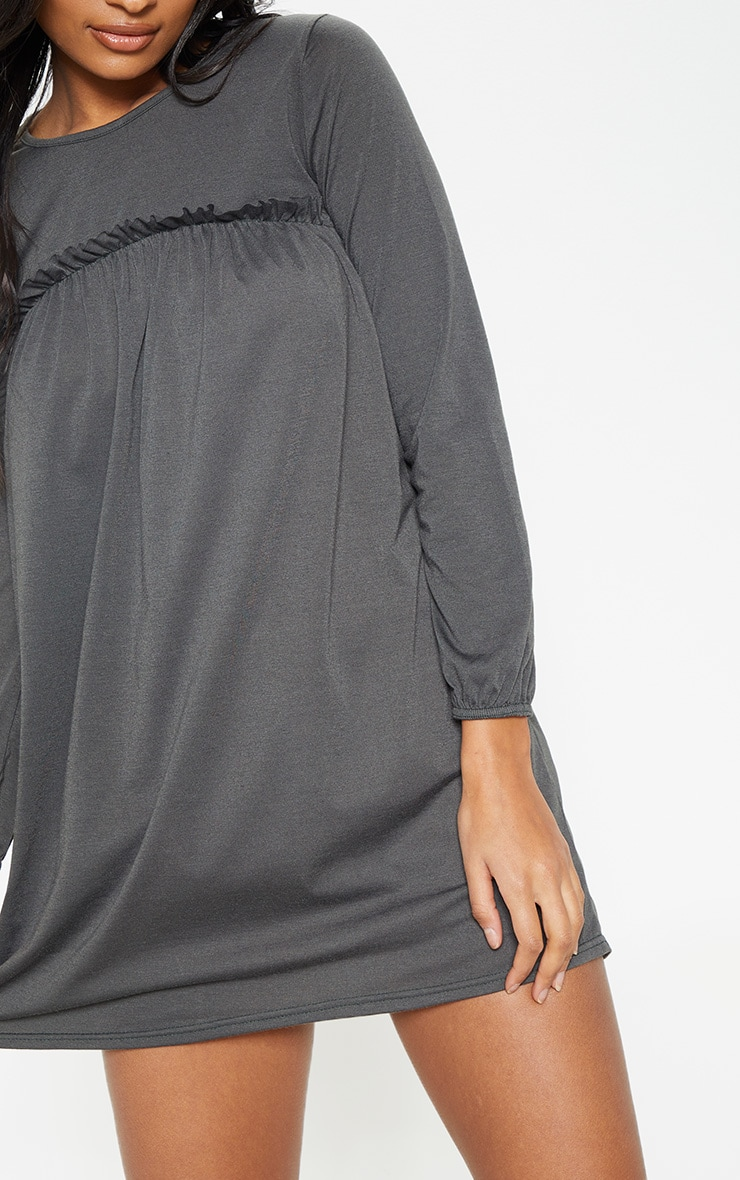 Charcoal Frill Long Sleeve Smock Dress 4