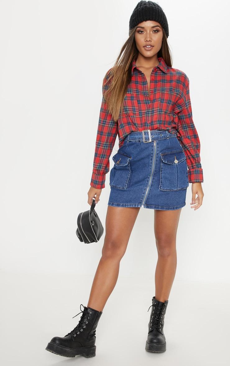 Mid Wash Cargo Pocket Belted Denim Skirt  1