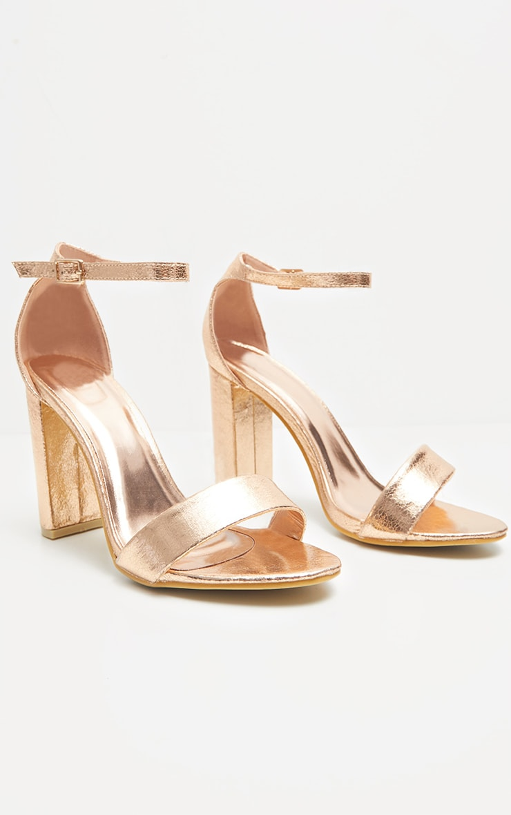 May Rose Gold Block Heeled Sandals 4