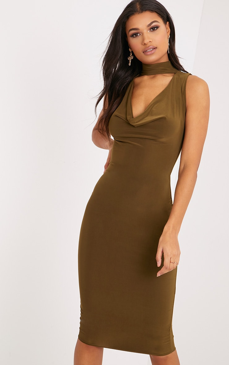 Nayasha Khaki Slinky Choker Wrap Midi Dress 1